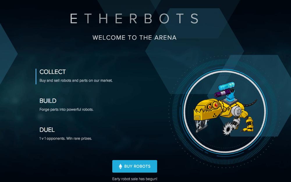 Etherbots juego sobre blockchain