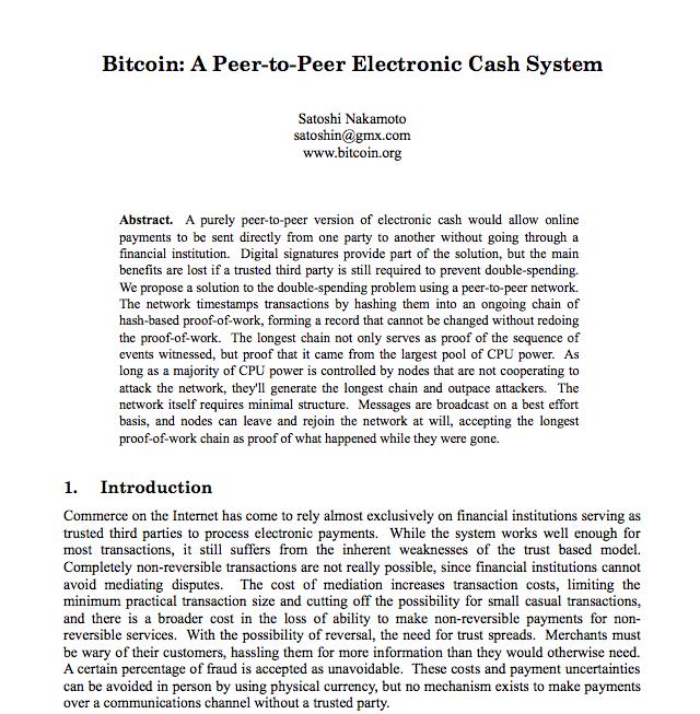 White paper bitcoin primera página
