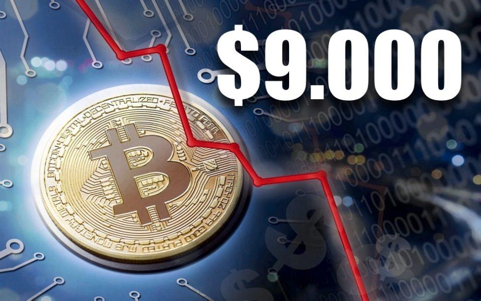 Bitcoin cae por debajo de 9.000 por temor a investigación a Upbit