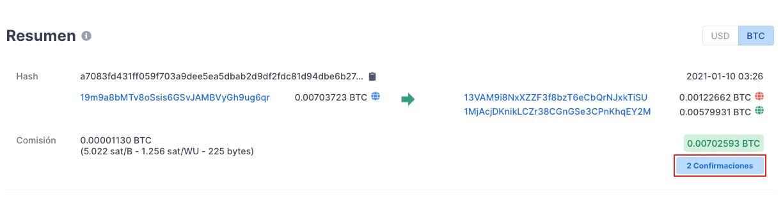 Verificar si una transacción tien confirmaciones en Bitcoin paso 2